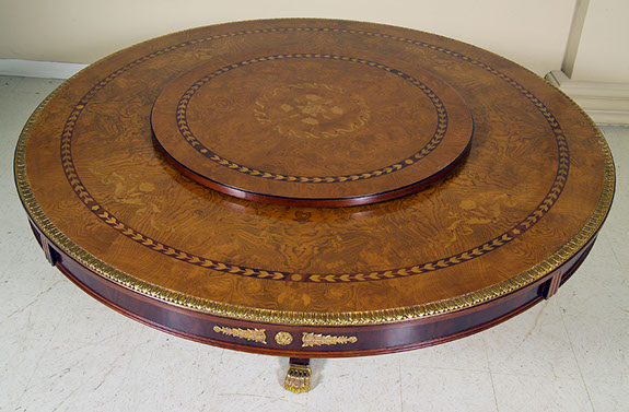 European style dining room tables with floral inlays and for Rotating dining table