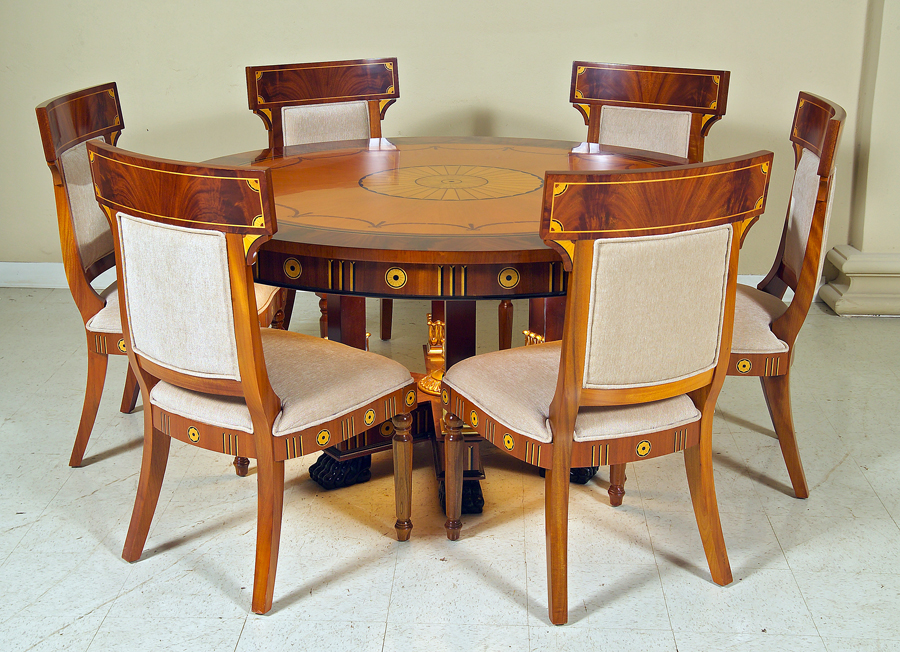 Traditional Italian Style Dinning Room Furniture Cherry Wood Inlay